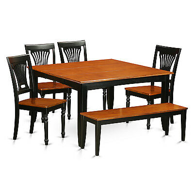 1 Of 2FREE Shipping Contemporary Black/Cherry Rubberwood 6 Piece Dining  Room Set With Dining Bench
