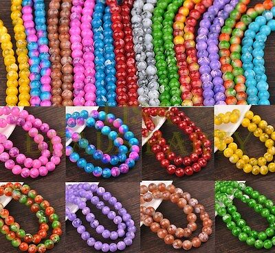 New 8mm 10mm 12mm Round Glass Charms Loose  Spacer Beads Lot Wholesale Bulk