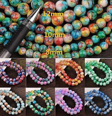 Wholesale 8mm 10mm 12mm Round Charms Loose Glass Spacer Colorized Beads Findings