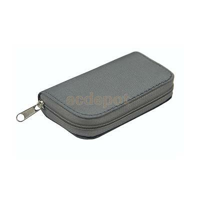 Silver 22 Slots SD/CF Memory Card Storage Pouch Holder Wallet Binder Bag