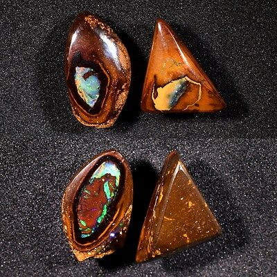 Pair 2pcs/14.41ct t.w Natural Nut Matrix Boulder Opal