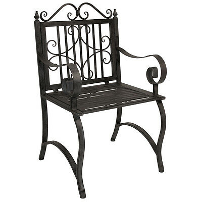 Charles Bentley Wrought Iron Armchair Outdoor Patio Garden Metal Chair - Grey