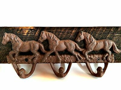 Vintage Cast Iron Horse Hat Hooks Coat Rack Barn Wood Wall Hanging 16.5 inches