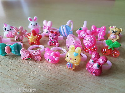 20 kids plastic children's rings joblot party bags wholesale job lot bunny kitty