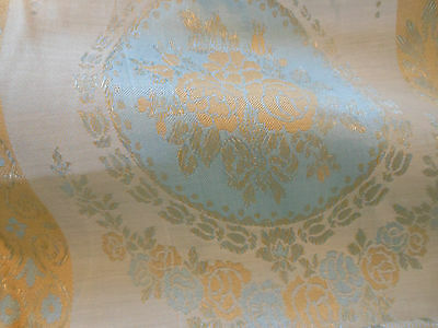 Antique Vintage Large Cameo Roses Cartouche Damask Fabric ~ yellow blue gray