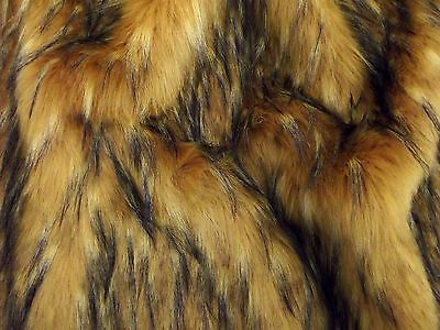 Super Luxury Faux Fur Fabric Material - LONG GOLD & BLACK FLECK