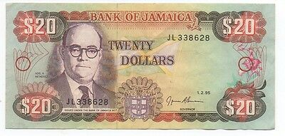 Older Bank of Jamaica 20 Dollar Currency Note