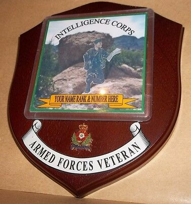 Intelligence Corps Veteran Wall Plaque personalised.