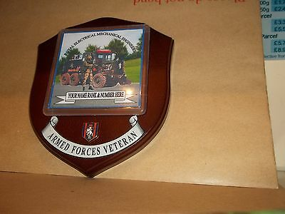 Royal Electrical Mechanical Engineers REME Veteran Wall Plaque personalised.
