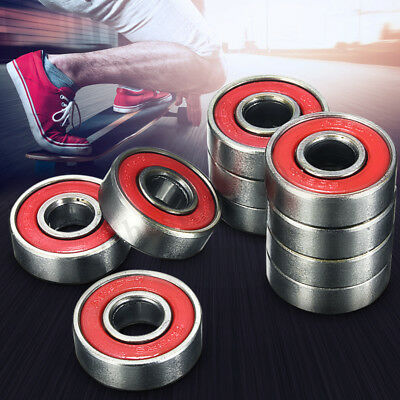 10PCS Roller Skate Skateboard Longboard Wheel Bearings ABEC-5 608-2RS Red Set