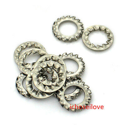 10Pcs 304 Stainless Steel Internal/External Tooth Lock Washers M3-M16 New