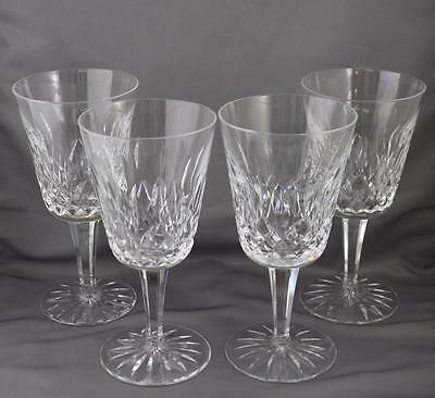 """Set of 4 Waterford Crystal Lismore Water Goblets 6 7/8"""" Glasses"""