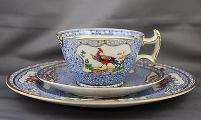 Antique Booths China England Mosaic Panel Teacup Saucer Dessert Plate Trio c1913