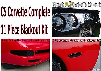 C5 Corvette 11 Piece Blackouts Front Rear Side Smoked Light Covers