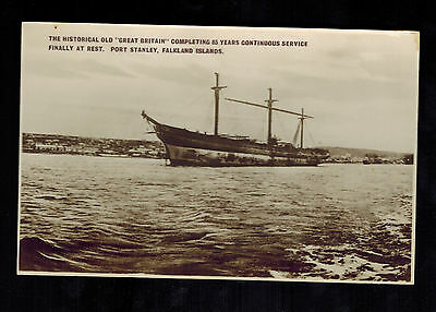 Mint Falkland Islands RPPC Real Picture Postcard Great Britain Ship Port Stanley