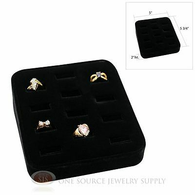 Ring Tray Black Velvet 12 Slot Jewelry Display Showcase Display