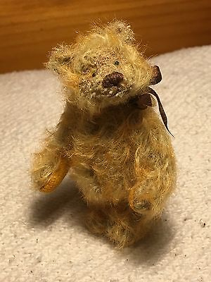 "Miniature Hand Sewn 3"" GOLDEN ORANGE Mohair Teddy Bear by Lori Wright"