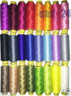 24x Colour Poly Hammer Thread Reel Spools Quality Sewing Yarn Pure All Purpose