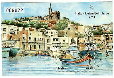 Malta 2011 Joint Issue with Iceland Fishing Villages Cancelled Souvenir Sheet