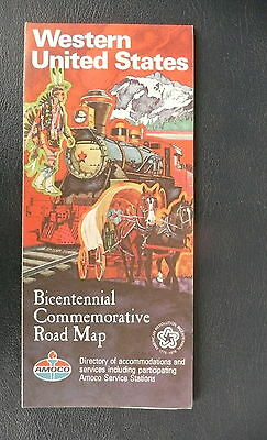 1976 Western United States road   map Amoco Oil gas Bicentennial
