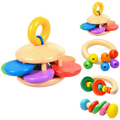 Baby Kids Wooden Musical Bell Handbell Rattle Education Instrument Toy XMAS Gift