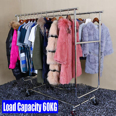 Stainless Steel Heavy Duty Clothes Garment Rail Dress Hanging Display Stand Rack