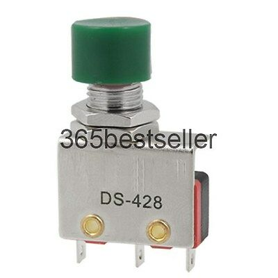 5Pcs 220V 10A SPDT Momentary Green Push Button Micro Limit Switch DS428