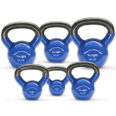 Yes4All Vinyl Coated Cast Iron Kettlebell Weight Set, 5+10+15+20+25+30 lbs