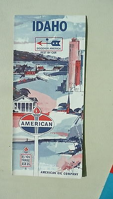 1966 Idaho  road  map American Oil gas city inserts
