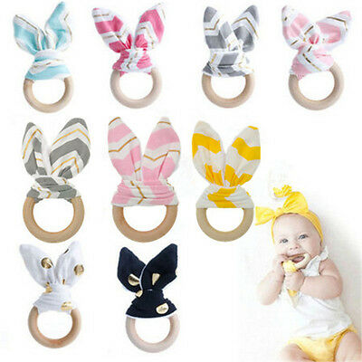 Creative Wooden Natural Baby Teething Ring Chewie Teether Bunny Sensory Gift Toy