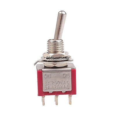 10Pcs 2A/250VAC 5A/120VAC DPDT ON/ON 6 Pin Panel Mounted Toggle Switch MTS-202