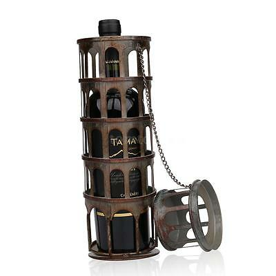 Tooarts Metal Rustic Tower Wine Bottle Holder Rack Handwork Art Handicrafts
