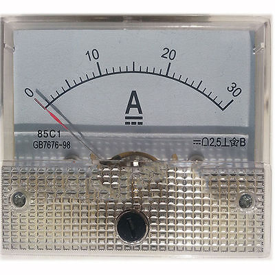 1pcs 85C1-A Type  DC 0 to 30Amp Class 2.5  Analog Ammeter Ampere Meter