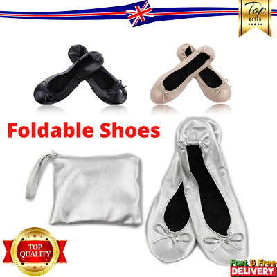 Roll Up Fold Pumps Flats after Party Shoes Pocket FREE Foldable Bag UK