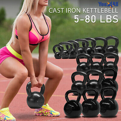 Yes4All Cast Iron Kettlebell Weights for Body Workout, Available: 5 - 80 lbs