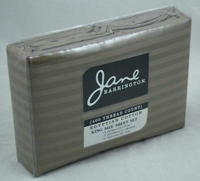 """Taupe Grey Egyptian Cotton Sheet Set King Size 16"""" Fitted + Flat + P/cases 400TC"""