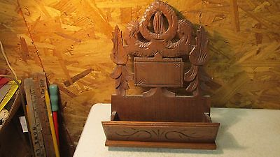 Antique Victorian Walnut Wood Wall Pocket