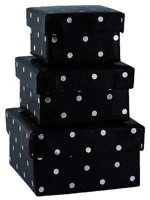 Set Of 3 Mini Square Nested Gift Boxes - Black & Silver Polka Dots