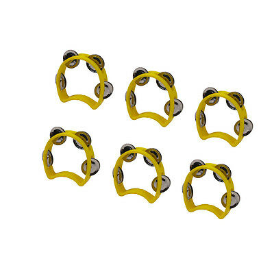 6pcs Yellow Half Blossom Purcussion Cutaway Tambourine with 4 Jingles