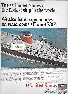 United States Lines 1960's S.s.united States Fastest Ship To Nassau & Panama Ad