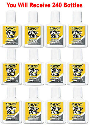 240x BIC Wite Out Quick Dry Correction Fluid White Out Foam Brush .7oz Wholesale