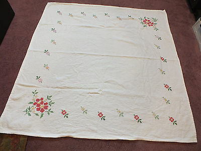 Handmade Cross Stitch Tablecloth White Green Rose Gold Pink Floral 36 Inch CUTE