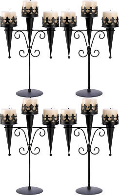 4 CANDLE HOLDERS: Gothic Black Medieval Triple Pillar Candle Stand Set NEW