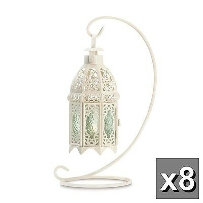 8 Antique Style White Metal Candle Lanterns with Stands Pale Green Glass Panels