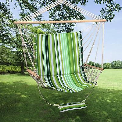 Garden Swing Hammock Hanging Rope Chair Seat Padded Cushion Stripe Outdoor New