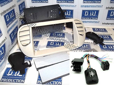 Panel CREAM car radio Double 2 Din FIAT 500 and AIR with commands steering wheel