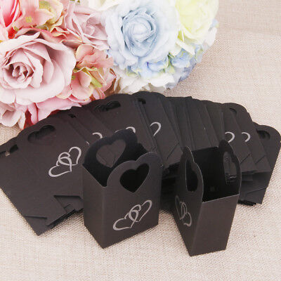 50 Wedding Party Favour Heart Chocolate Cake Candy Boxes Bags Gift Black