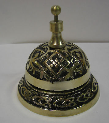 Irish Brass Desk Bell Ornate - Black