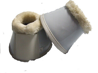 Ecotak White Patent Bell Over Reach Boots with Fleece - Extra Large