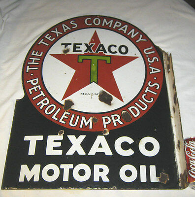 Antique Dbl Sided Texas Star Texaco Oil Gas Petroleum Porcelain Station Sign Usa
